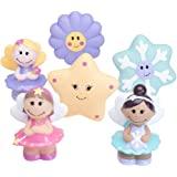 Elegant Baby 6 Piece Bath Time Fun Rubber Water Squirties Vinyl Zip Storage Bag, Fairy Party