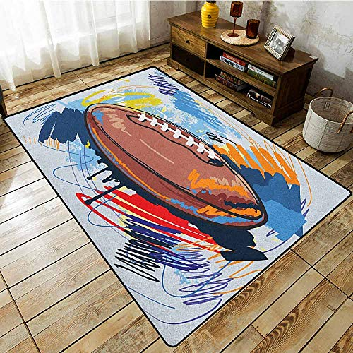 Hopscotch Rugby - Living Room Rug,Sports,Diamond Shape Rugby Ball Sketch with Colorful Doodles Professional Equipment League,Easy Clean Rugs Multicolor