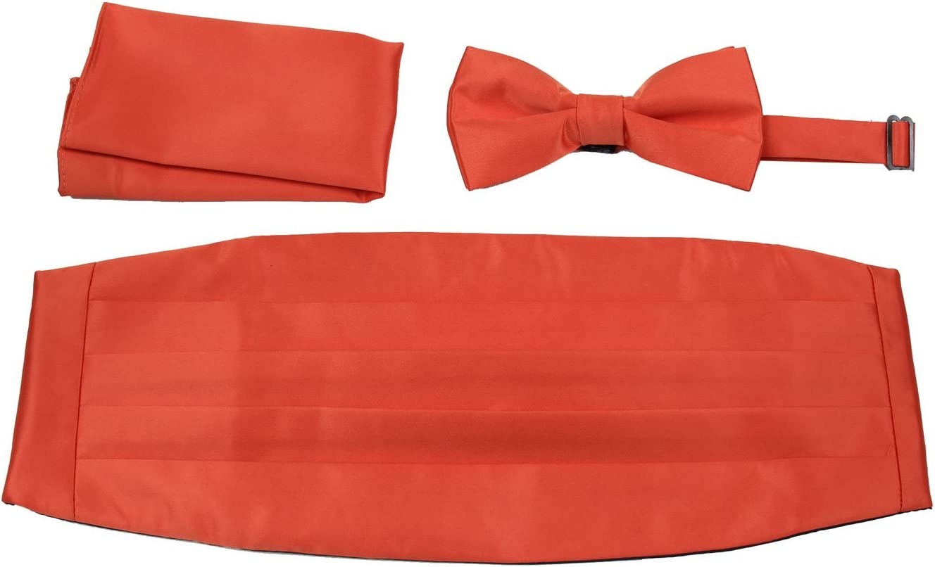 Mens Formal Woven Satin Cummerbund Pre-Tied Bowtie Hanky set Many Solid Colors Available
