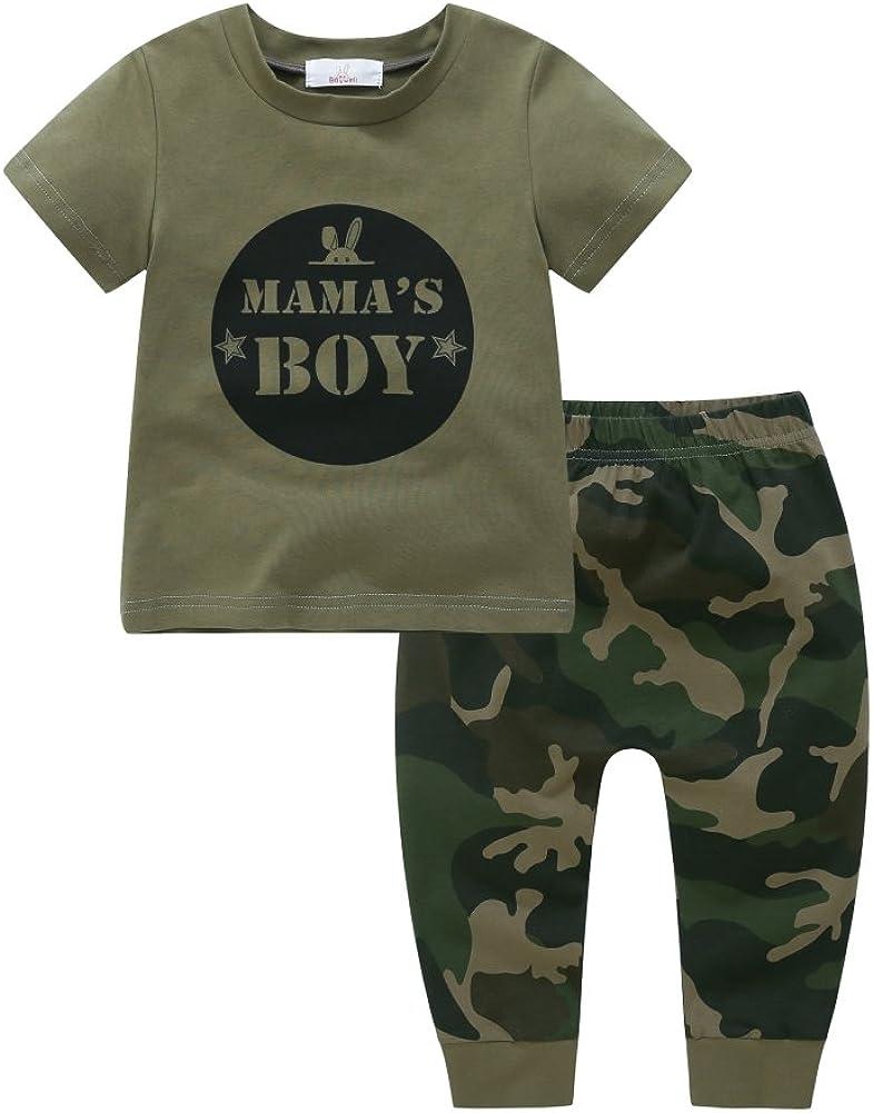 BrightupMamas Boy,Mamas Girl Conjuntos Impresos de Verano para Beb/é Ni/ño Ni/ña Pantalones de impresi/ón de Camuflaje 2 Piezas de Ropa Camiseta de Manga Corta