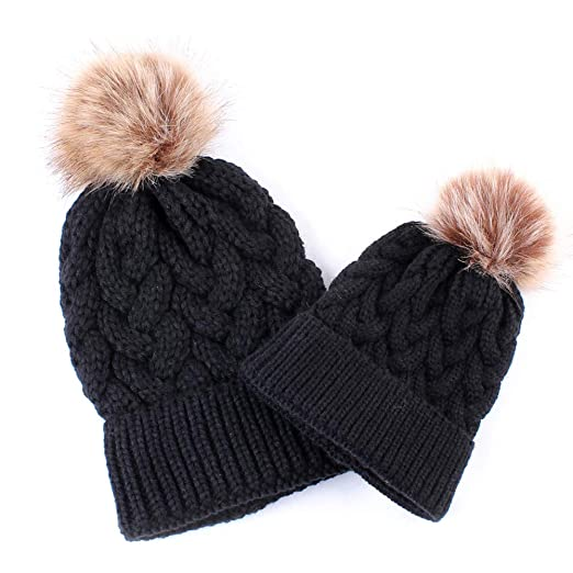 0a398736d kaiCran 2PCS Parent-Child Hat Warmer, Mommy and Me Cable Knit Winter Warm  Hat Beanie