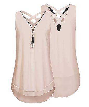 af4d60817ce6f BINGBIAN Sleeveless Chiffion Tank Top Women Zipper Criss Cross Blouse Cami  Shirt (Apricot, S