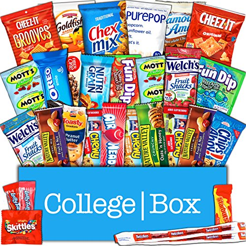Snack Care Gift (CollegeBox - Snacks Care Package (30 Count) for College Students – Variety Assortment Gift Box with Treats for Studying and Dorm Rooms – Chips, Cookies, Candy and More)