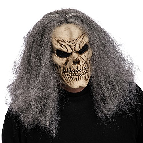 Carnival Toys 1449 – Latex Skull Mask with Grey Hair and CAVALLOTTO, Ivory