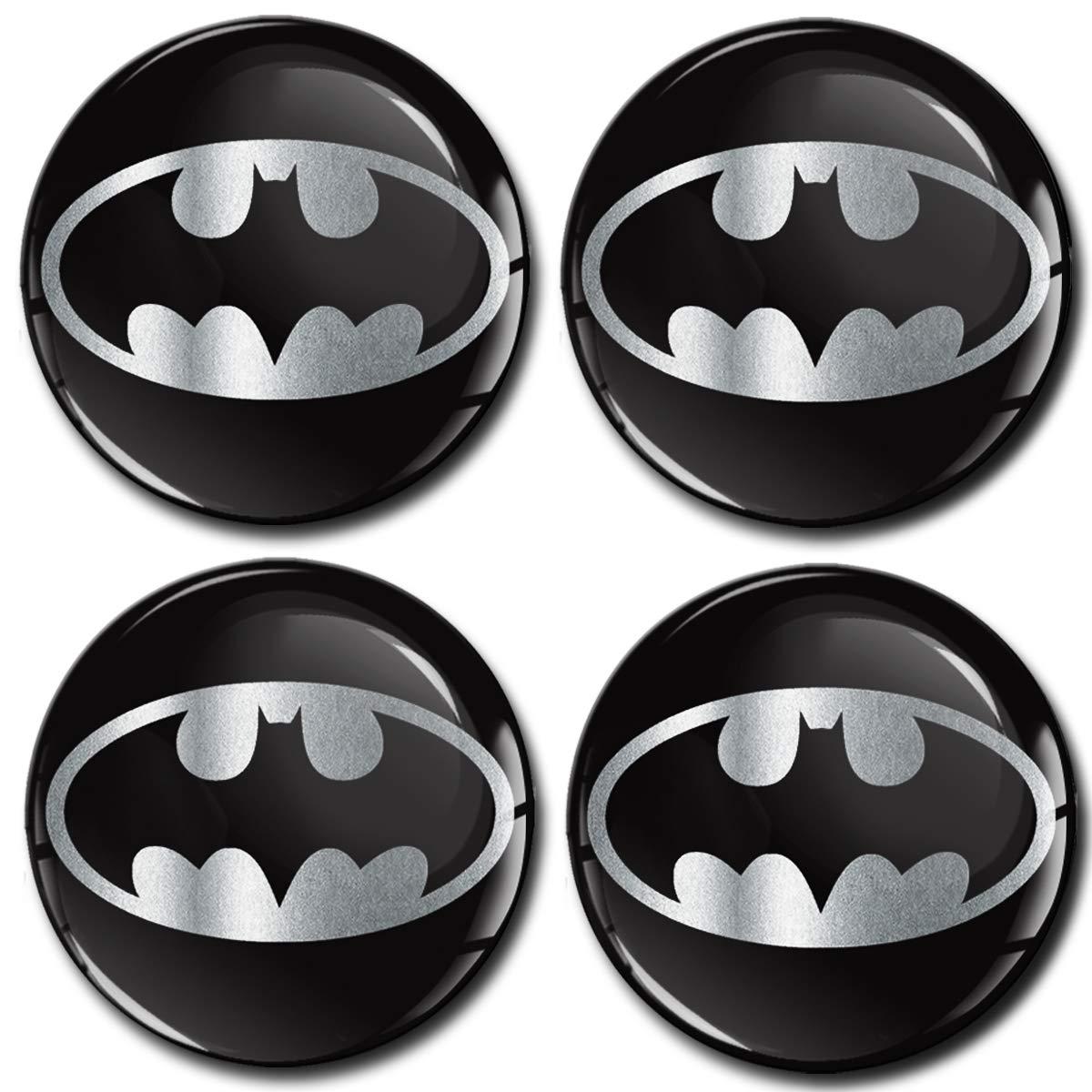 Silver 60mm 4x Batman Wheel Centre Cap Set High Quality BAT Hub Caps Blue