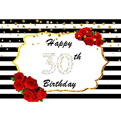 OERJU 3x2m Feliz cumpleaños Fondo Puntos de Oro. Feliz 30 ...