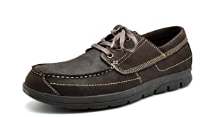 Bruno MARC MODA ITALY CALACE Men's Casual Loafers Oxford Lace Up Boat Driving Moccasins Shoes DARK BROWN SIZE 10