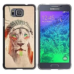 YOYOYO Smartphone Protección Defender Duro Negro Funda Imagen Diseño Carcasa Tapa Case Skin Cover Para Samsung GALAXY ALPHA G850 - león nativa americana pluma sepia india