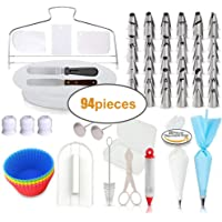 94 pcs Cake Decorating Supplies Kit Professional with 48 Icing Nozzles, Turntable Stand, Letter Cutters Scraper Spatula & Smoother, Pipings Bags and Tips, Pastry Cupcake Silicone Molds with E-Book