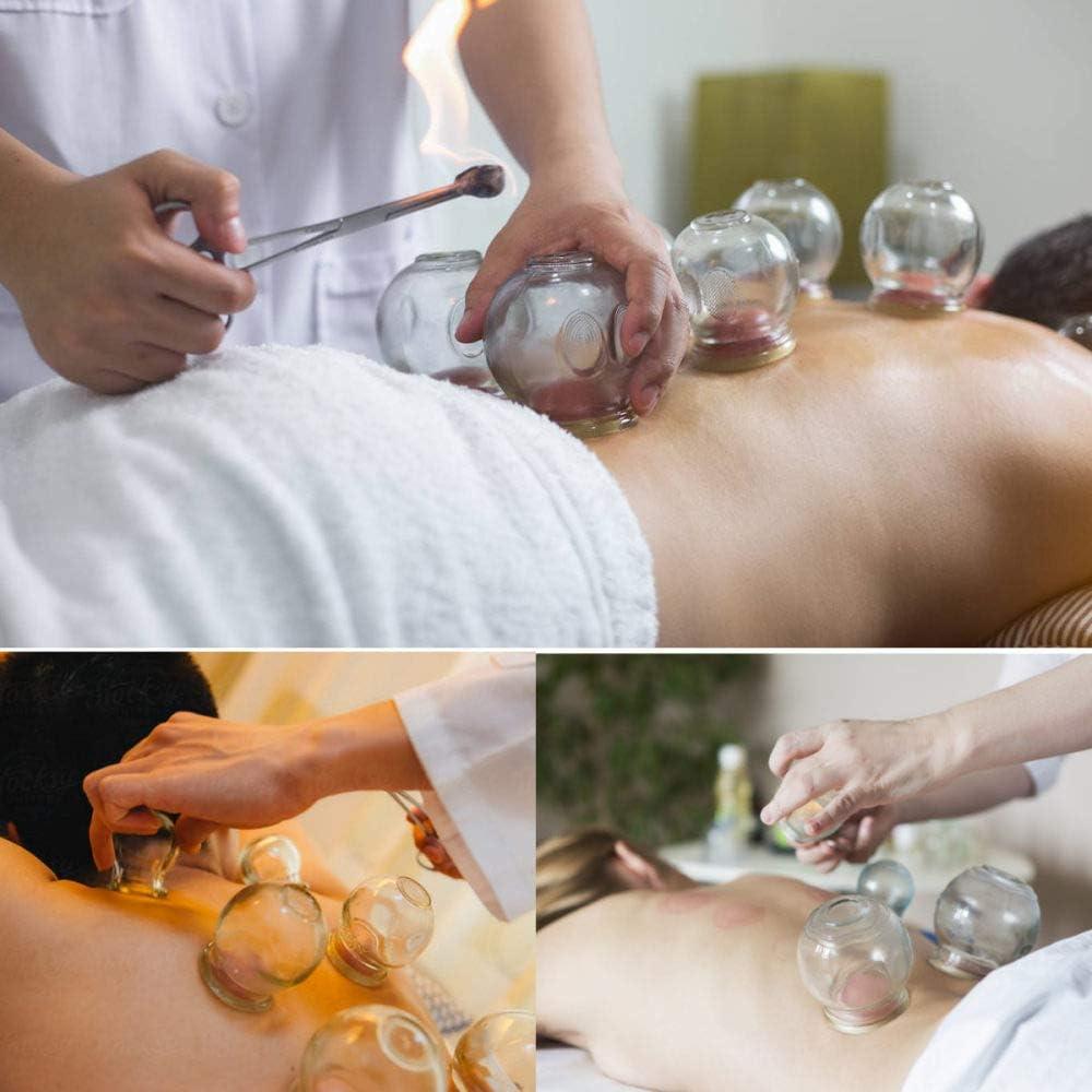 XXXKK Juego de 16 ventosas de vidrio grueso chino, para acupuntura, terapia de masaje a prueba de explosiones, juego de regalo para relajación corporal, terapia de masaje