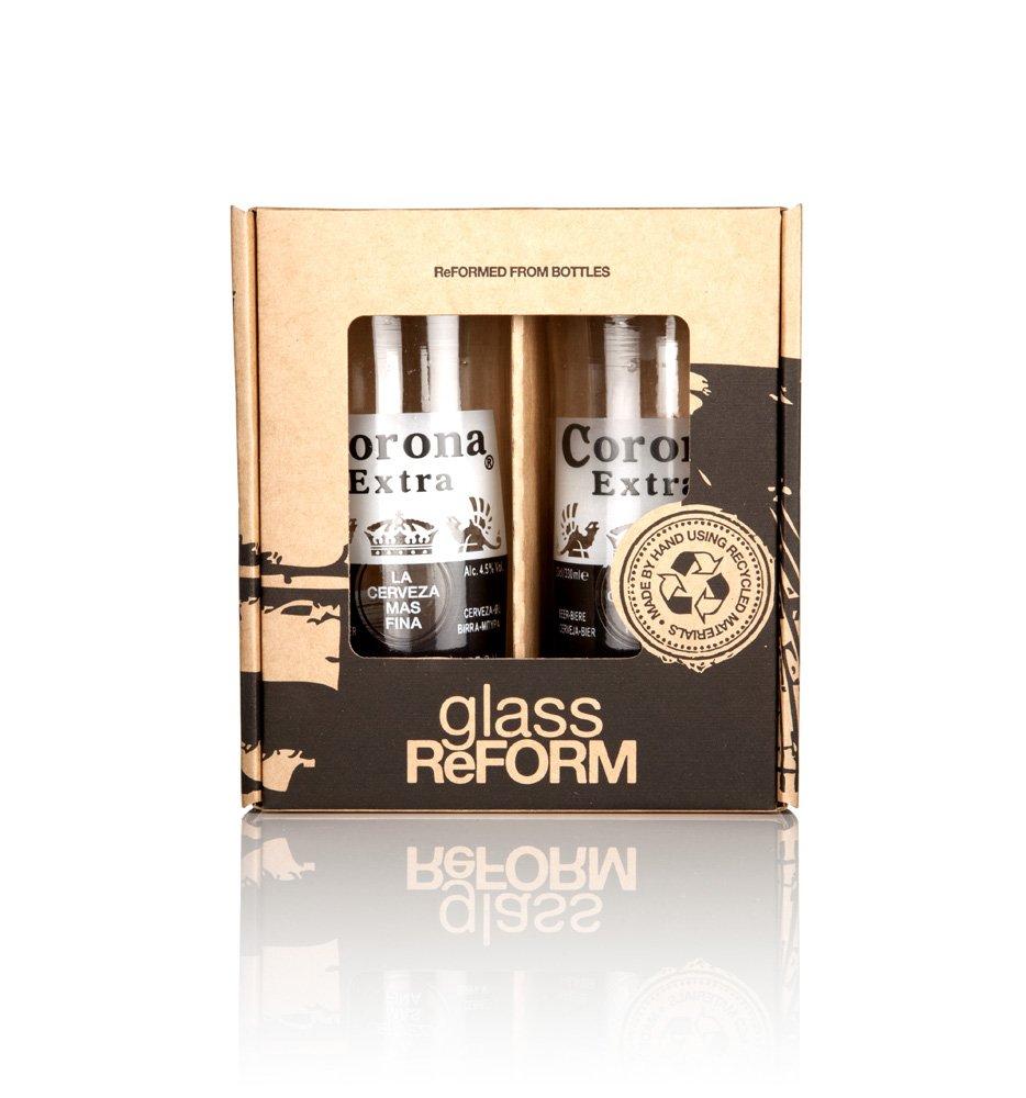Vasos de cristal reciclado de botellas de Corona Extra, juego de dos unidades en caja de regalo, hechos a mano por Glass ReFORM con botellas recicladas, ...