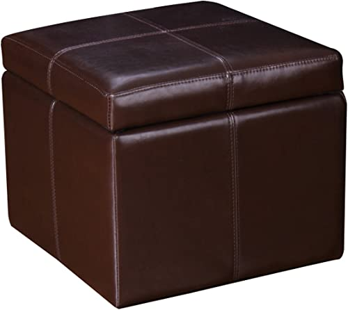 Homebeez Faux Leather Storage Ottoman Square Footrest Stool Cube Bench FT40AM03HB1