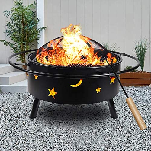 hmercy Outdoor Fire Pit 30 Inch Fireplace Wood Burning Patio Bonfire