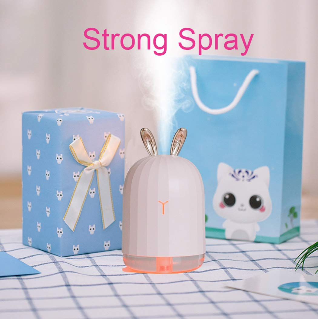 Lovely Rabbit//Deer Essential Oil Diffuser 7 Color Led Light YIJIAOYUN 200 ML Mini Cool Mist Humidifier USB Moisture Sprayer Quiet Operation Bedroom Office Car /… Pink