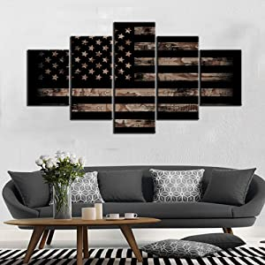 TUMOVO American Flag Decor Grunge Wall Art Black and White Paintings Camouflage Style Artwork 5 Panel Canvas Home Decor for Living Room Giclee Wooden Framed Gallery-Wrapped Ready to Hang(60''Wx32''H)