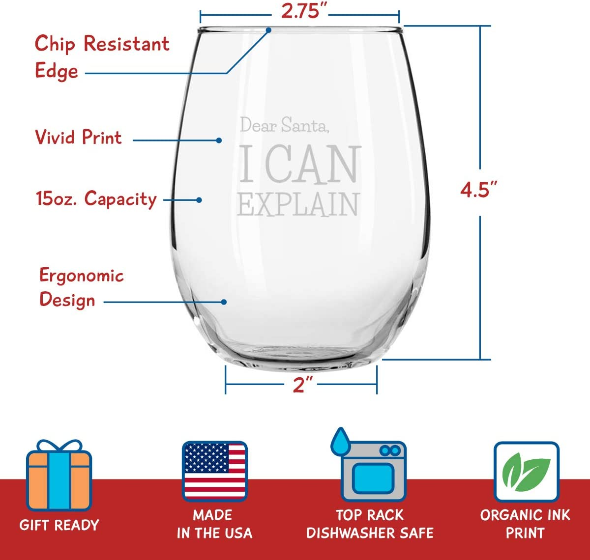 Dear Santa Funny Christmas Stemless Wine Glass Set of 4 - 15 oz - Naughty, Cheerful Holiday Party Cups- Gift Exchange Idea to Celebrate X mas