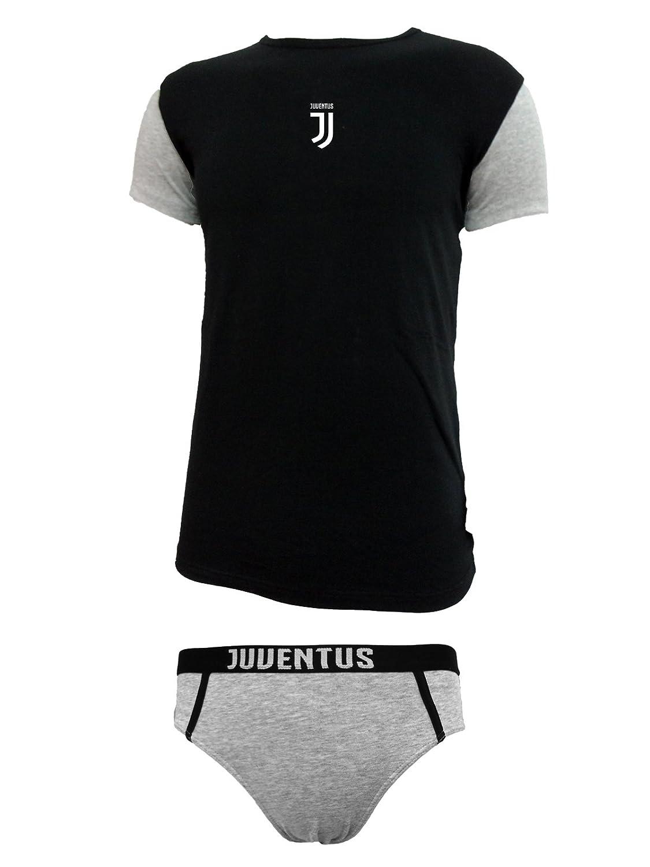 coordinato ragazzo slip + t-shirt girocollo cotone elasticizzato JUVENTUS prodotto ufficiale juve art. JU12056 nero) 11056