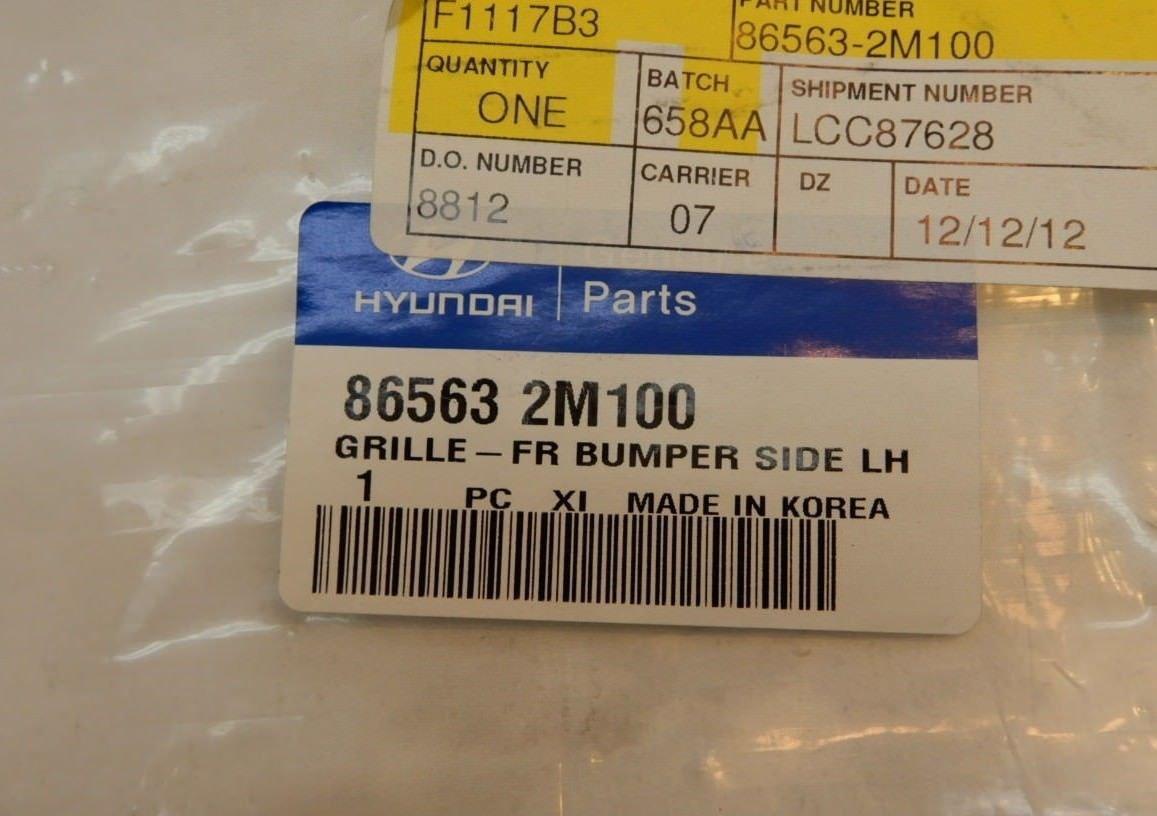 Genuine Hyundai 86563-2M100 Bumper Grille Left Front