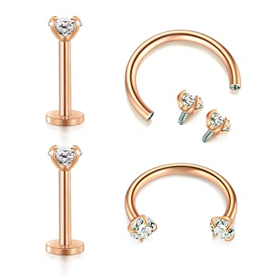2pc 16g Curved Bar PRONG ROUND CLEAR CZ Internally Threaded 8mm barbell,3mm cz
