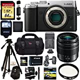 Panasonic LUMIX GX8 Mirrorless Micro Four Thirds Camera (Silver), G Vario 12-60mm f/3.5-5.6 ASPH. POWER O.I.S. Lens, Transcend 64 GB Card, Polaroid Tripod, Polaroid Battery, Charger + Accessory Bundle