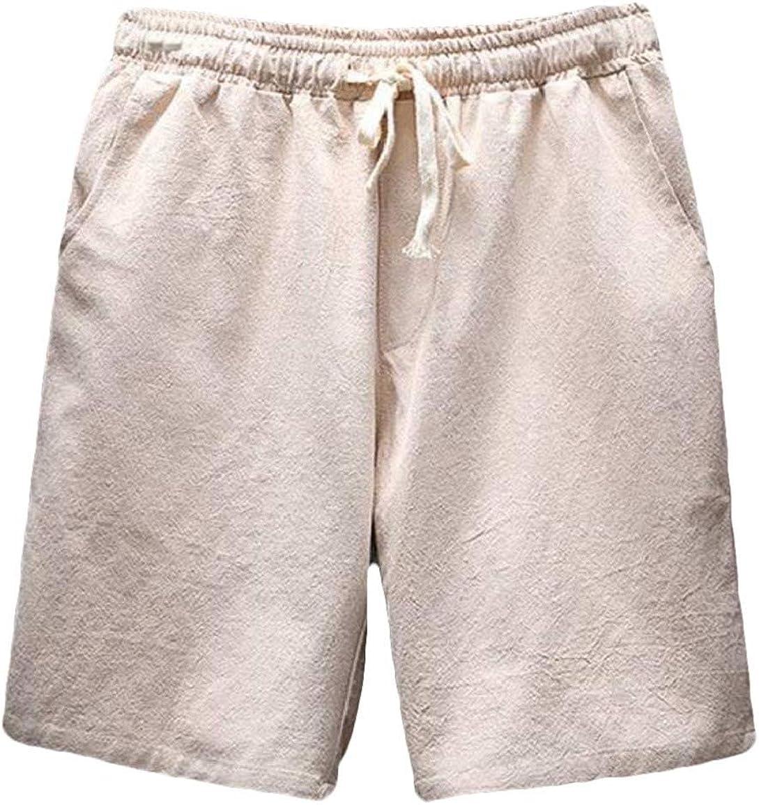 NestYu Men Linen Chinese V-Neck Short Pants T-Shirt Big and Tall 2 Piece Set