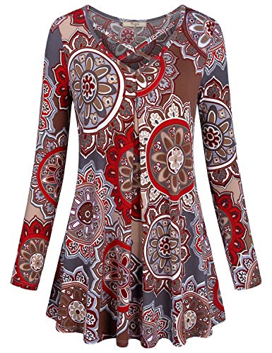 Cestyle Misses Tunic Tops, Floral Shirts for Women V Neck Long Sleeve Cross Front Flattering Pattern Flared Hem Soft Knit Vintage Print Clothing Drape Blouse Red Flower X-Large -