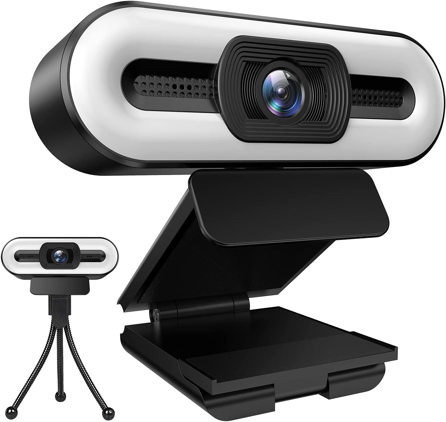 [2021 New Version] 1080P Webcam with Microphone and Ring Light,3-Level Brightness and 3-Color Light,Plug and Play,Streaming USB Webcam,Web Camera for PC Desktop Laptop MAC,Zoom Skype YouTube