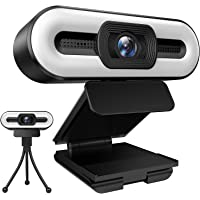 [2021 New Version] 1080P Webcam with Microphone and Ring Light,3-Level Brightness and 3-Color Light,Plug and Play…