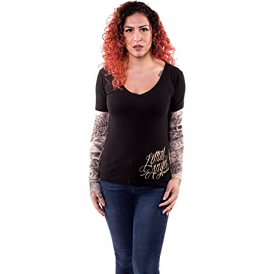 02cf93b1 Lethal Angel Women's Skull Butterfly Tattoo Sleeve V Neck Shirt S Black