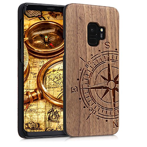 Walnut Wood Case - Wood Case for Samsung Galaxy S9 Plus,YUANQIAN - [Walnut] [Origin][Non Slip] [Wood Tactile] [Natural Wood and Dark Black PC] [Laser Print Pattern] Wooden Case(Compass, For Galaxy S9)