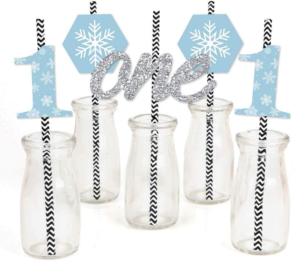 Big Dot of Happiness Onederland - Paper Straw Decor - Holiday Snowflake Winter Wonderland Birthday Party Striped Decorative Straws - Set of 24