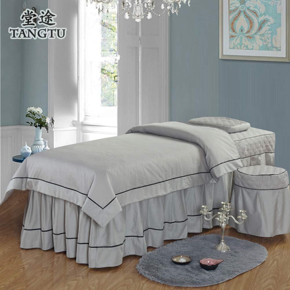純粋な色 綿 美容 ベッド カバー,北欧スタイル マッサージ テーブル シート セット タトゥー ベッドスカート ベッドカバー 寝具カバー-グレー B07S73YJLK