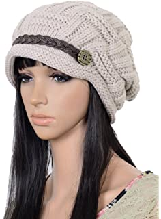 6c066075b6c Natuworld Winter Warm Slouch Beanie Knitted Hats Crochet Baggy Beret Cap  for Women Winter Snowboarding outdoor