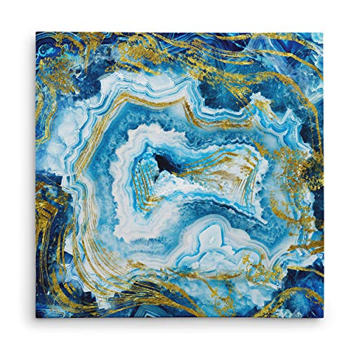 WEXFORD HOME Touch of Gold Agate II Gallery Wrapped Canvas Wall Art, 16x16,