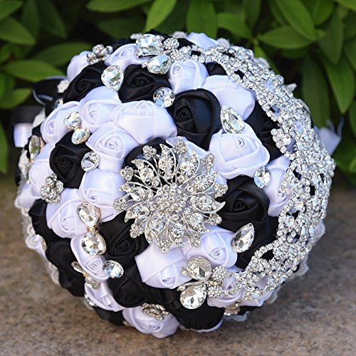 - FYSTORE Romantic Wedding Bride Holding Bouquet Roses with Crystal Diamond Ribbon Artificial Foam Flower Bouquet ((Black+White)