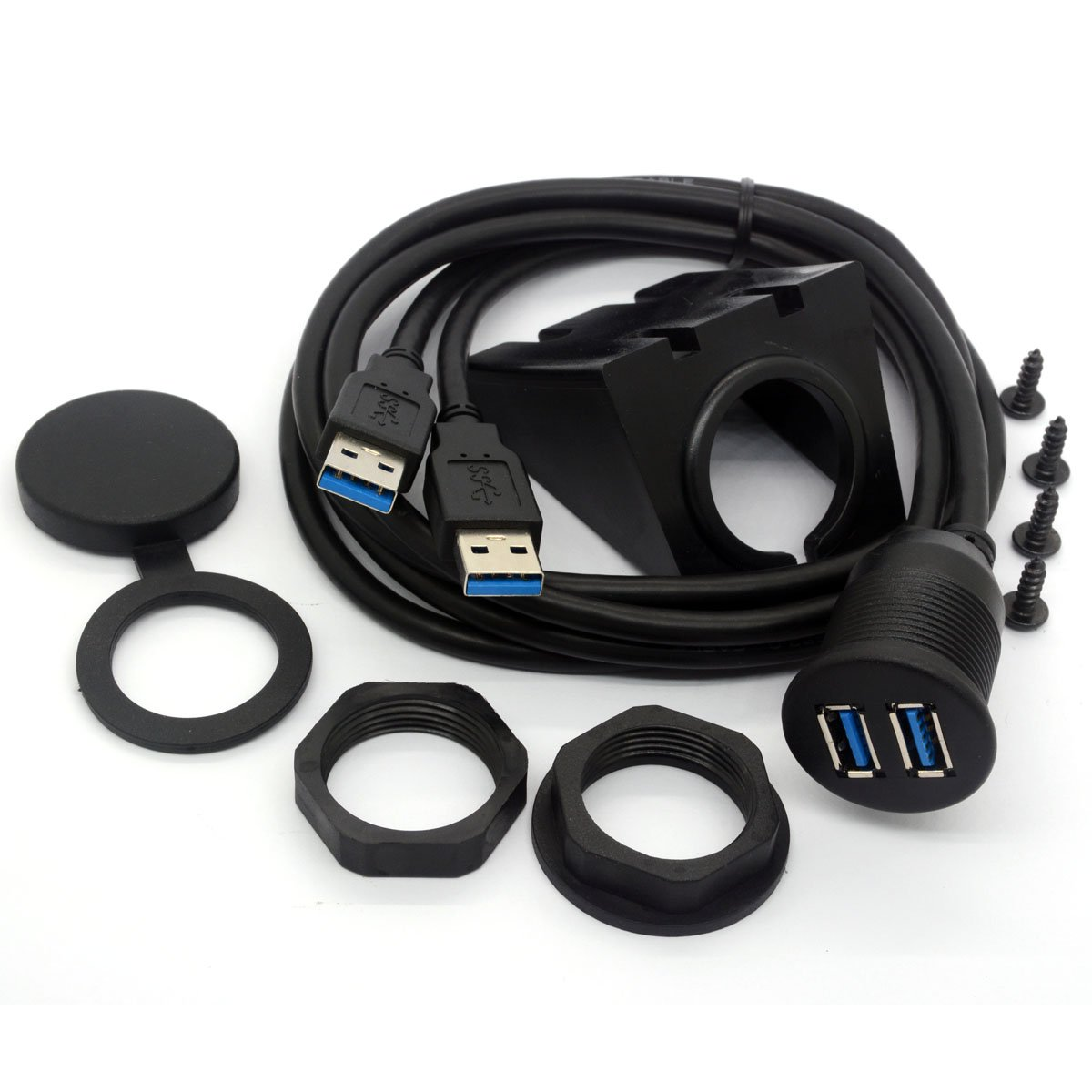 USB 3.0 cable de montaje empotrado USB Dual Flush Dash montaje en panel Cable macho a hembra Extensi/ón c/ódigo para coche cami/ón barco motocicleta salpicadero