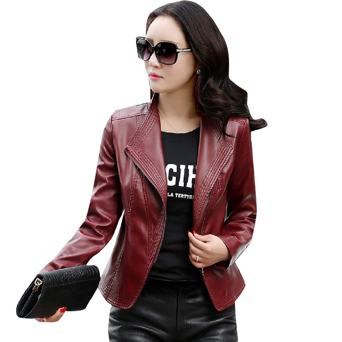 YUNY Women Motorcycle Leather Silm Fit Windproof Coat Bomber Jacket 2 2XL