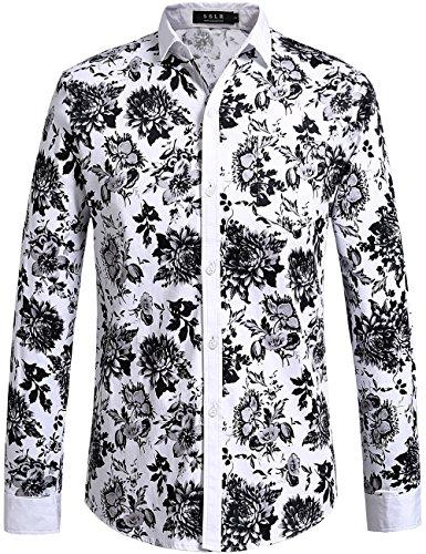 SSLR Men's Floral Cotton Casual Long Sleeve Button Down Shirt (Medium, White Black) - Black And White Shirts For Men