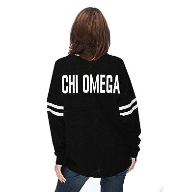 c9ccf2e670504 Sorority Letters Shop Chi Omega Varsity Pom Pom Jersey T - Black and ...