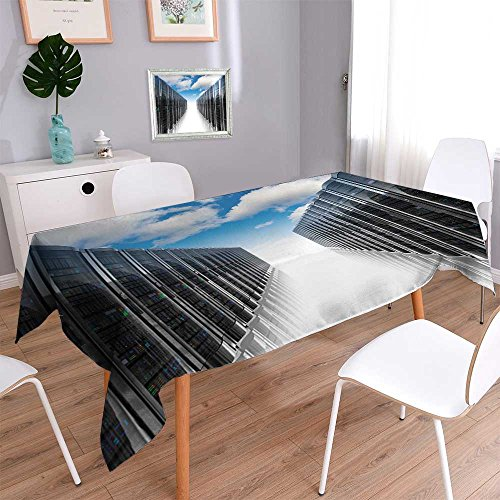 Square Polyester Tablecloth Cloud Computing and Computer Networking Concept Rows of Network Servers Easy Care Spillproof 52
