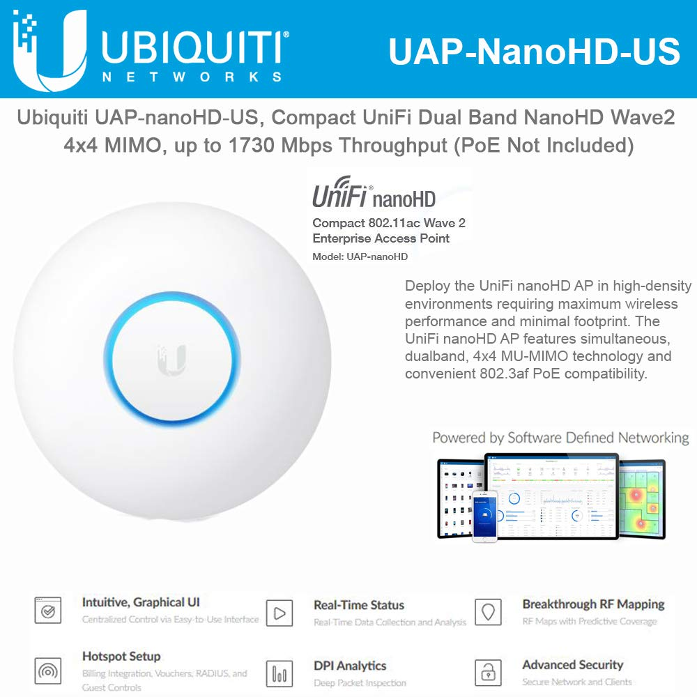 UniFi nanoHD UAP-nanoHD-US Compact Dual Band Wave2 Enterprise Wi-Fi 4x4 MIMO 1730 Mbps by UBNT Systems