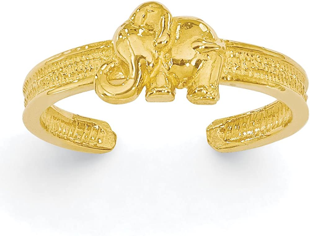 14k Yellow Gold Polished Elephant Toe Ring Jewelry Gifts for Women