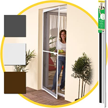 Puerta mosquitera 100 x 215 cm - Marco de aluminio blanco + Rejilla contra insectos -Tamaño adaptable: Amazon.es: Hogar