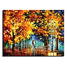 Sunding Art Carve Painting Modern Framed Lovers Walking in The Forest Hand-Painted On Canvas Oil Painting Reproduction Pictures Wall Art Ready to Hang for Living Room Decor