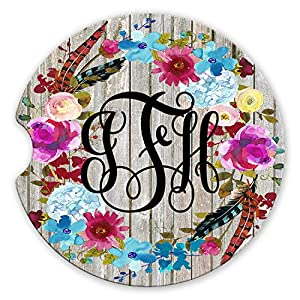Personalized Monogram Sandstone Car Coasters Boho Floral Wreath Grey Barn Wood Background Set of 2 78