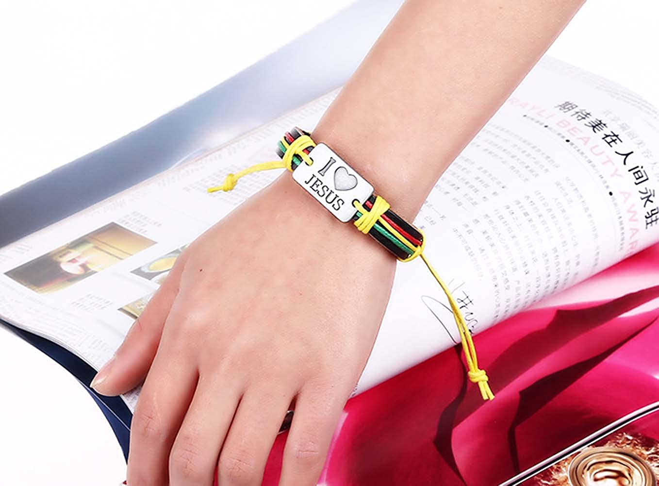 Amazon.com: I love Jesus red green yellow woven leather lucky ...