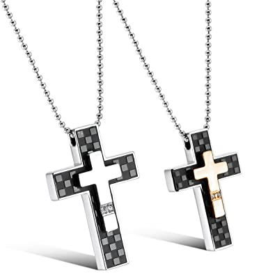 a234901eaf700 INBLUE Men,Women's 2 PCS Stainless Steel Pendant Necklace CZ Silver Tone  Black Rose Gold Cross Love Valentine Couple His & Hers Set -With 20 and 23  ...