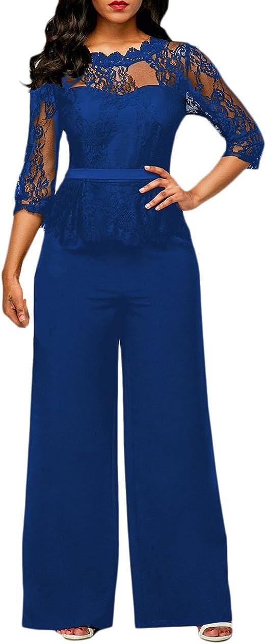 Monos De Vestir Mujer Largo Pantalon Elegante Verano Splice Ropa Dama Moderno Encaje Mangas 3 4 Mono De Noche Moda Casual Transparentes Fiesta Pata Ancha Jumpsuit Amazon Es Ropa Y Accesorios