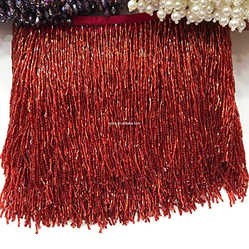 Dalab Wine red Bugle Beads Fringe Tassel Trims Chain for Haute Couture Trims Chain