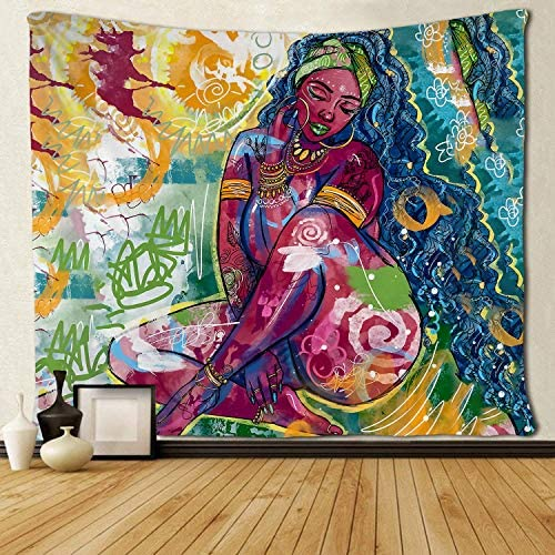 SARA NELL Black Art Tapestry Wall Tapestry African African Women Girl African Afro Black Women Lady Graffiti Art Wall Hanging Tapestries Tapestry for Living Room Bedroom Dorm Decor 60×90 Inches